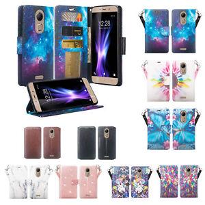 CoolPad Revvl Plus Case Cover, Faux Leather Flip Wallet Wristlet and Card Slots