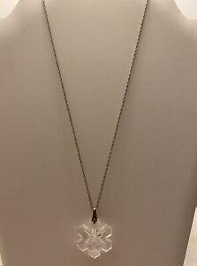 Vtg 1975 Gorham Crystal Snowflake Ornament Sterling Silver Pendant Necklace