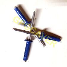 "BLUE Exploding Small Head Trifold Rivets Pop Rivet 50ct 3/16"" Racing Fastener"