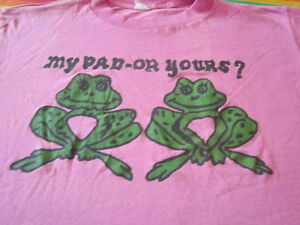 VINTAGE 80s frog tee shirt MY PAD OR YOURS SUPER THIN AND SOFT XL