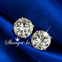 18K WHITE GOLD GF SILVER ROUND STUD EARRINGS MENS WOMENS SWAROVSKI DIAMOND EA110