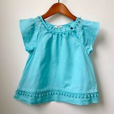 JCREW CREWCUTS Girls Aqua Cotton Voile Blouse, 4-5 years, EUC
