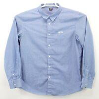 Oakley Blue White Striped Long Sleeve Cotton Button Up Shirt Men's Size XL EUC