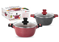 Marble Effect Non Stick Stock Pot Casserole Cooking Pan Induction Base 2 Size's