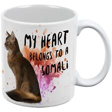 My Heart Belongs Somali Cat White All Over Coffee Mug