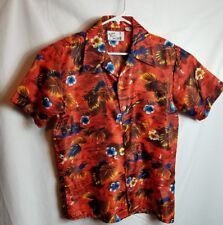 Men's Sutton Place Hawaiian Red Button Down Shirt Size Meduim