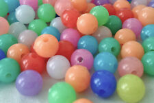 250  Mixed colour opaque plastic beads 8mm ideal to make bracelets  AB0217