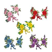 2 x Rose Flower Embroidery Sew Iron On Patch Badge Bag Clothes Fabric Appliques