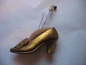 Vtg Gold metal Souvenir Washington DC The Capitol Ladies High heel shoe w pins