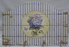 Rustic Country French Provincial Blue Hydrangea Wooden Plaque With 4 Hooks New!