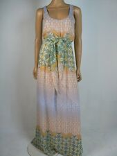 $168 Jessica Simpson Ori Zinnia Blue Green Beige Chiffon Maxi Dress 6 NWT J378