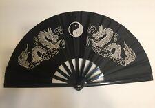 Chinese Kung Fu Tai Chi Martial Arts Double White Dragon  Hand Fan Black