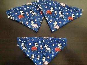 Slide on dog bandanas size XS navy with puppy dogs polycotton print
