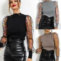 Mesh Slim Dot Sheer Women's Tops Polka T-shirt Sweater Pullover Long Puff Sleeve