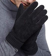 Men Suede Leather Glove Fleece Lined Winter Thermal Driving Sport Gloves Black
