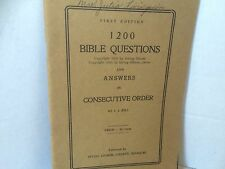 1200 Bible Questions And Answers in Consecutive Order JJ Hill 1930 Irving Gilmer