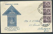 1947 1d Purple Queen Hrh Princess Elizabeth Strip of 3 on Winslow Fdc Five Dock