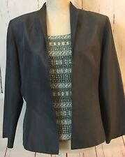 Papell Size 14P Gray Silk 2 Pc Twinset Open Jacket Shell Bead Bling V Back