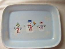 "Vintage 1995 Hartstone Snow People Rectangular 12-1/2"" x 9-1/2"" Tray Platter"