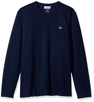 Lacoste Men's V-Neck Pima Cotton Jersey T-Shirt US M- Navy