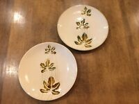 Set of 2 - Pier1 Autumn Leaves Stoneware Salad Plates Cream Green / Brown Leaves