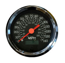 "Speedometer,programmable,3-3/8""/86mm,140 MPH,LED light,black/chrome, 043-SP-BC"