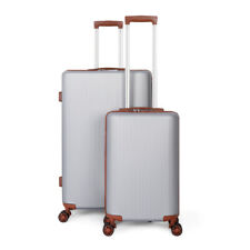 Hardside Expandable Luggage with Spinner Wheels, Silver, 2-Piece Set (20/28)