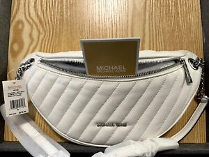 Michael Kors Peyton Large Chain Belt Bag Quilted Crossbody White & Silver