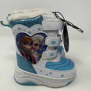 Disney Frozen Toddler Snow Boots Elsa Anna Winter Play Blue White Size Small 5