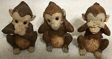 "3 Monkeys Monkey Resin Hear No Evil See No Evil Speak No Evil ABC Dist. VGC 3.5"""
