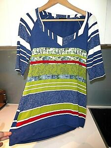 AVENTURES DES TOILES blue green white floral striped tunic top Size 10 approx