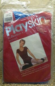 VTG NIP Playskin by Danskin Sport Blue SS Leotard Adult L Style 9900 100% Nylon