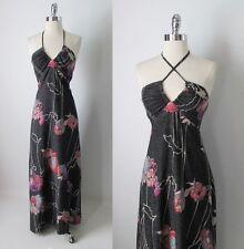 Vintage 70's Magnin Evening Gown Metallic Pink Purple Black Lurex Halter Dress S