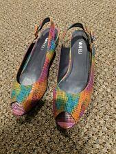 VAN ELi Women's Multicolor Snakeskin Look Slingback Wedge Heels