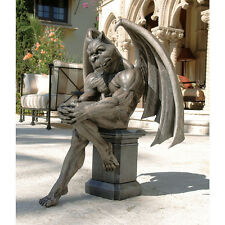 Medieval Gothic Thinker Philosopher Perched on a Pedestal Gargoyle Sculpture