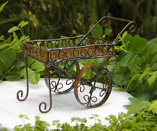 Miniature Dollhouse FAIRY GARDEN Furniture ~ Rustic Antiqued Metal Tea Cart NEW