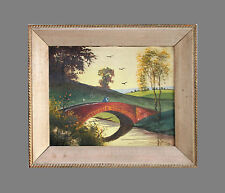 LOVELY ORIGINAL ANTIQUE OIL ON BOARD LANDSCAPE PAINTING SIGNED H. FOX