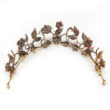 Antique Brass Flower Leaf Pearl Crystal Adult Tiara Crown Wedding Prom Party