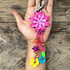 Pink Genuine Leather Keychain KeyRing Handmade Flower Charm Purse Floral Cute