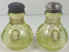 Northwood Opalescent Vaseline Glass Jewel & Flower Salt & Pepper Shakers W/ Gold