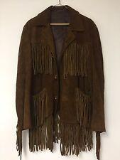 "Unisex Leather Fringe Deer Hide Coat Chest 40"" Western Wear Cowboy Daniel Boone"