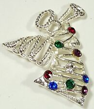 Jewelry Christmas Angel Brooch Pin SilverTone Multi-Color Glass Rhinestone#2082