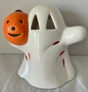 """Vintage Halloween Ghost Candle Holder Made in Taiwan Jack o Lantern 6"""" Tall"""