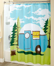 Retro Camper Fabric Shower Curtain Bathroom Camping Great Outdoors Bath Blue