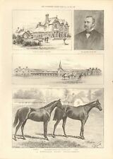 1891 ANTIQUE PRINT - A NEWMARKET RACING ESTABLISHMENT, FALMOUTH HOUSE STABLES