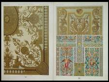 PEINTURE 17e, EMAUX - 2 LITHOGRAPHIES 1869 RACINET,ORNEMENT,PLAFOND HOTEL MAILLY