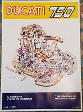DUCATI 750 ENGINE CUT AWAY POSTER DEALER ROUND CASE BEVEL GT PRINTED ITALY NOS
