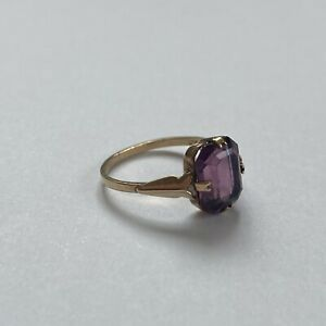 Vintage Antique 9ct Yellow Gold Amethyst Ring 1.89g Size L