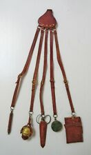 Rare Antique Leather Sewing Seamstress Chatelaine Complete