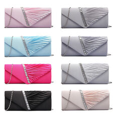 Women Satin Diamante Ruffle Party Evening Envelope Clutch Bag Prom Bridal Purse